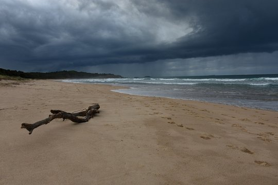 Australian Coastline Park Beach Coffs Harbour rain over ocean