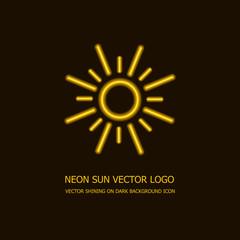 Vector Neon Sun Logo Template, Bright Yellow Light, Glowing Icon.