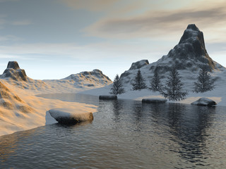 Beautiful lake, a winter landscape, snow on the ground, coniferous trees, stones and a cloudy sky.