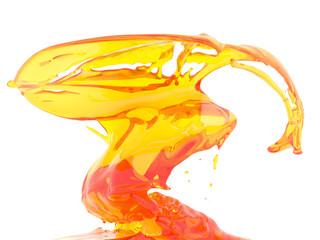 Yellow orange liquid splash isolated on white background