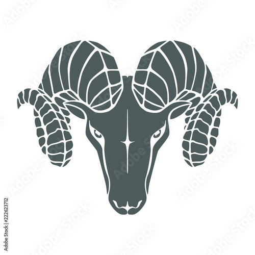 Icon Aries Symbol Argali Black Sign Head Ram Isolated On White
