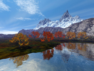 Snowy mountain, an alpine landscape, beautiful trees, reflection on water and a blue sky.