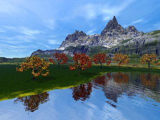 Mountain, an autumn landscape, grass on the ground, trees with red and yellow leaves, reflection on water and a blue sky.