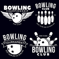 Set of vector vintage monochrome style bowling logo, icons and symbol. Bowling ball and bowling pins illustration. Trendy design elements.
