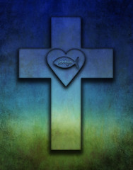 Cross with the Ichtys fish a sign for persecution and a heart symbolizing Gods eternal love