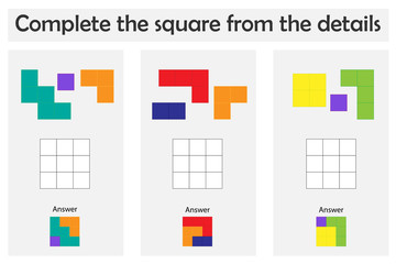 Puzzle game with colorful details for children, complete the square,easy level, education game for kids, preschool worksheet activity, task for the development of logical thinking, vector illustration