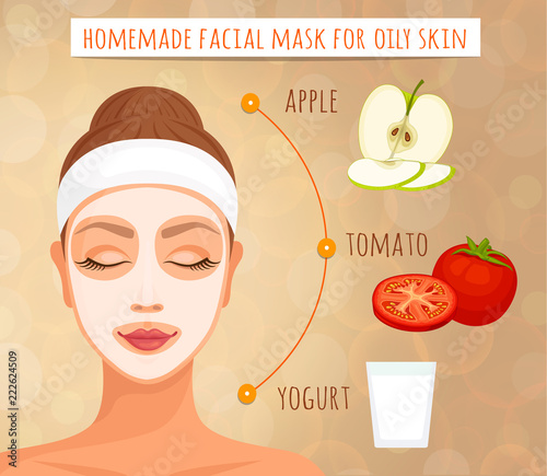 Express means for acne. Effective and easy to prepare facial mask for acne. Homemade natural cosmetics. Vector. Skin care at home.