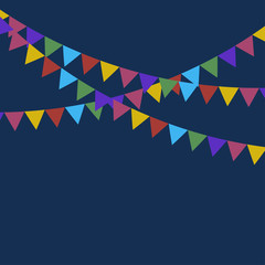 Vector party flags for decoration. Festive flags. Holiday background. Carnival