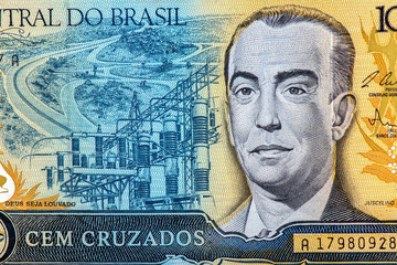 100 Brasilian cruzeiro Bank note. Cruzeiro is the former currency of Brasil. Close Up UNC Uncirculated - Collection