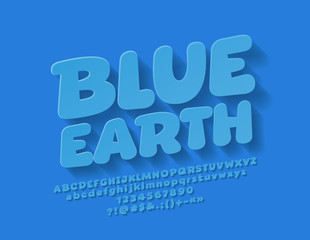 Vector Simple Children Font with Shadow. Sign Blue Earth with Kids Alphabet