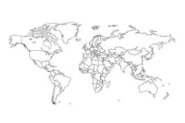 Photo sur Toile Carte du monde World map vector. Contour of world map