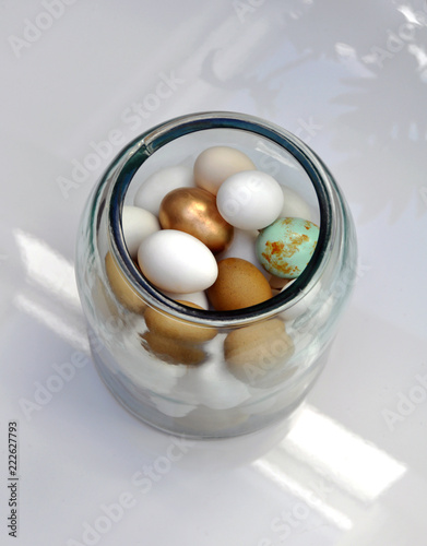 Beautiful Eggs Dekoration In A Vase One Egg Is Colored In Gold And
