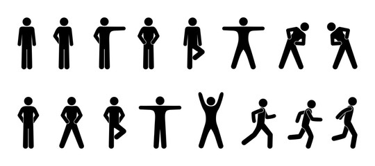 stick figure, set of icons people, basic movement, man poses, pictogram human silhouettes