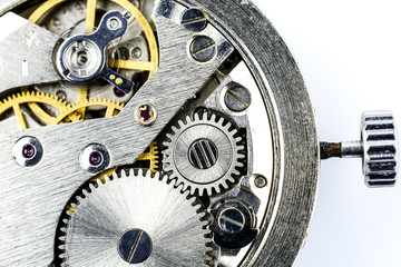 Fragment of mechanism of wrist watches by close up.