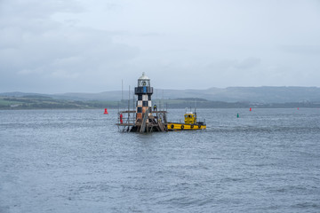 The Old Perch Lighthouse or Quey Beacon Light at Port Glasgow