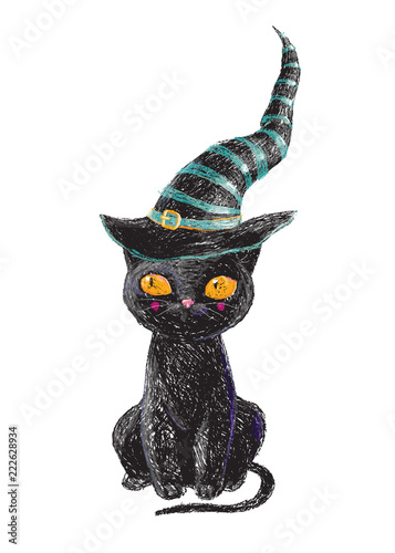 Hand Drawn Cute Black Witch Cat With Old Hat Isolated On
