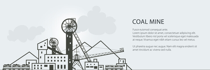 Coal Mining Banner, Complex Industrial Facilities with Spoil Tip and with Rail Cars, Coal Industry, Poster Brochure Flyer Design, Vector Illustration
