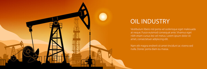 Oil Industry Banner, Silhouette Pumpjack on a Background of Mountains at Sunset, Overground Drive for a Reciprocating Piston Pump in an Oil Well, Working Pumps and Drilling Rig, Vector Illustration