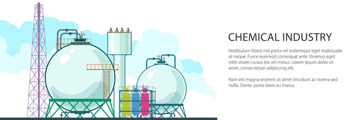 Banner of Chemical Plant , Refinery Processing of Natural Resources, Industrial Pipes and Text , Petrochemical Industry, Vector Illustration