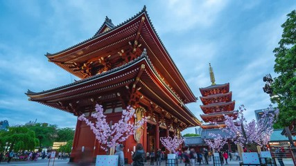 Wall Mural - Timelapse video of Sensoji Temple day to night time lapse in Tokyo city, Japan