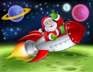 Santa in his space rocket sleigh flying over an alien sci fi landscape and waving Christmas cartoon illustration