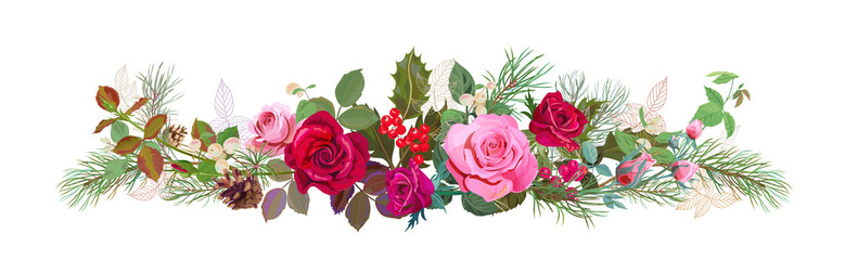 Panoramic view with red, pink roses, pine branches, cones, holly berry, common snowberry. Horizontal border for Christmas: flowers, leaves, white background, digital draw, watercolor style, vector