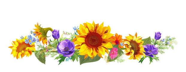 Horizontal autumn's border: sunflowers, blue anemones, forget-me-nots, gerbera daisy flowers, small twigs on white background. Digital draw, illustration in watercolor style, panoramic view, vector
