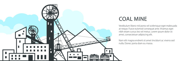 Mine Banner, Complex Industrial Facilities with Spoil Tip and with Rail Cars, Coal Industry, Poster Brochure Flyer Design, Vector Illustration