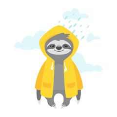 sloth character in yellow raincoat