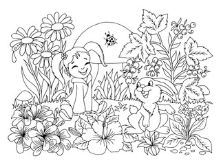 Vector illustration zentangl. The little girl is playing with a rabbit in a clearing among the flowers. Coloring book. Antistress for adults and children.  Black and white.