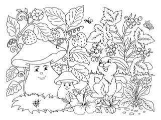 Vector illustration zentangl. A cheerful company in a clearing among berries and flowers. Coloring book. Antistress for adults and children.  Black and white.