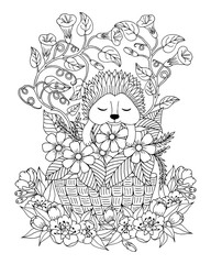 Vector illustration zentangle. Hedgehog in a clearing with a basket of flowers. Coloring book. Antistress for adults and children. The work was done in manual mode. Black and white.