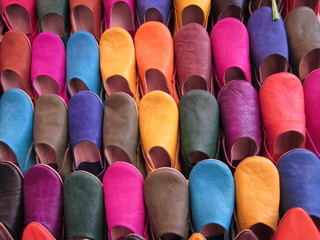 Acrylic Prints Morocco Colorful Moroccan shoes for sale at Marrakesh old local market, Morocco.