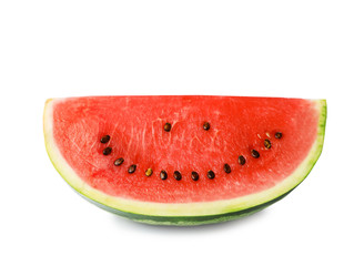 Watermelon with funny smiling face on white background
