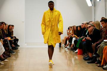 A model presents a creation at the Jasper Conran catwalk show at London Fashion Week Women's in London