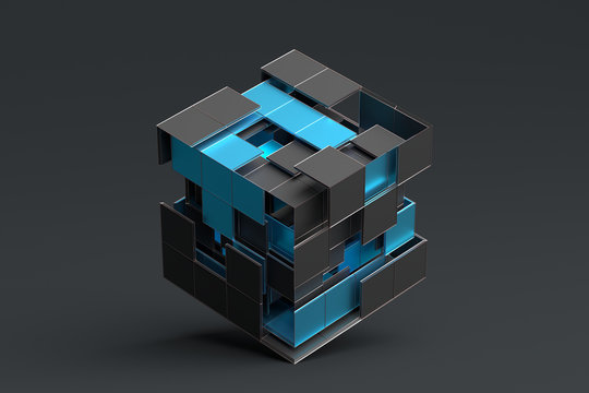 Abstract 3d rendering of geometric shapes. Composition with squares. Cube design. Modern background for poster, cover, branding, banner, placard.