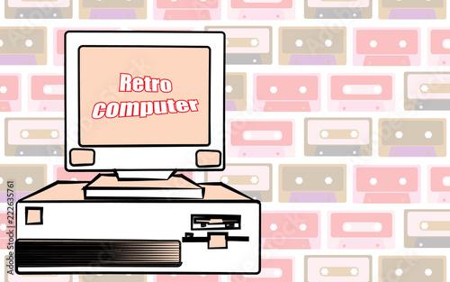 Old vintage retro hipster antique gaming desktop computer