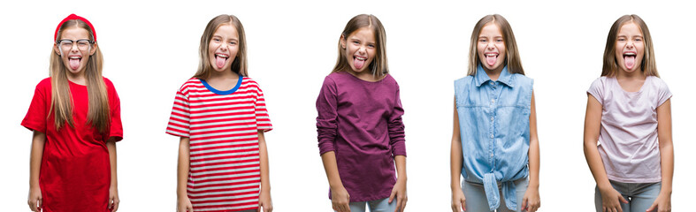 Collage of young beautiful little girl kid over isolated background sticking tongue out happy with funny expression. Emotion concept.