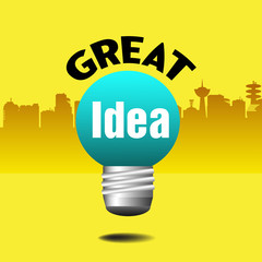 Abstract colorful background with an isolated light bulb having the text great idea written in black and white