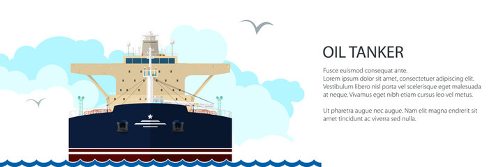 Front View of the Vessel Oil Tanker and Text, International Freight Transportation Banner, Ship for the Transportation of Goods, Vector Illustration