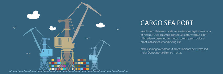 Cargo Crane at the Port at Sea Banner, Containers and Cranes at the Dock, International Freight Transportation, Vector Illustration
