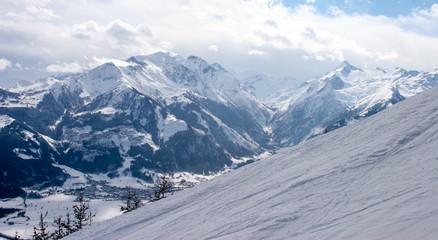 Snow Skiing hiking and hang gliding
