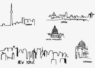 Silhouettes of the city`s