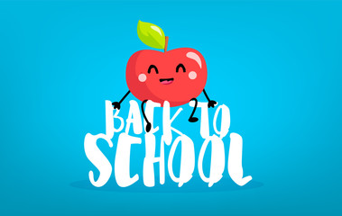 Happy cartoon apple sitting on the letters. Back to school card. Vector.