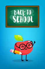 Happy cartoon apple with pencil and blackboard. Back to school card. Vector.
