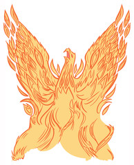 Phoenix or Firebird Rising Vector Clip Art