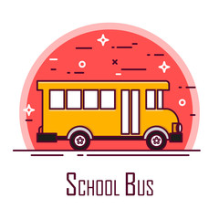 School bus icon in red circle. Thin line flat design. Vector.