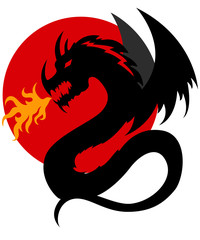 Black dragon illustration with red sun in background
