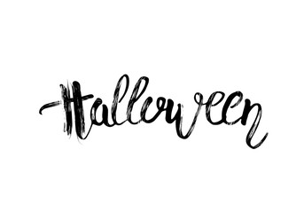 Happy Halloween creative hand lettering composition. Vector illustration.