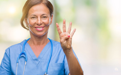 Middle age senior nurse doctor woman over isolated background showing and pointing up with fingers number four while smiling confident and happy.